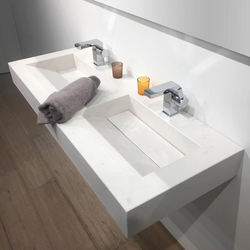 pierre Calacatta, Plan double vasque salle de bain suspendu 121x46 cm