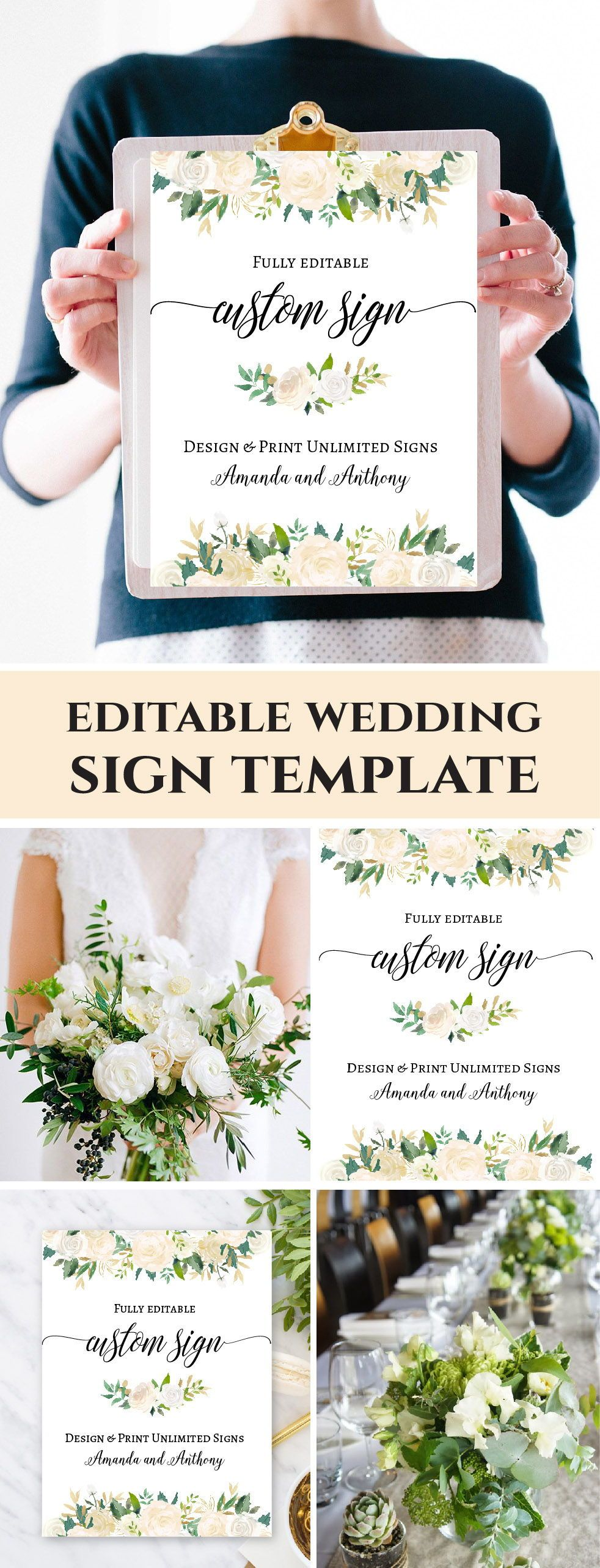 Custom Wedding Sign Template Fl Party Printable Signage Unlimited Signs Instant 18x24 F6