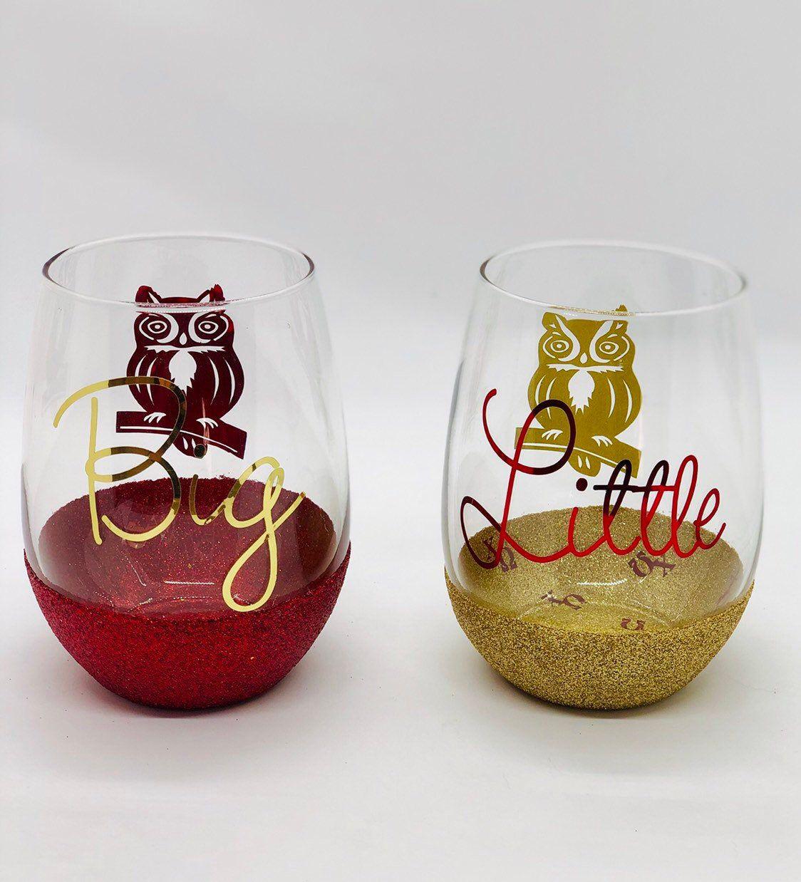Sorority Big Little Wine Glass Set Alpha Beta Gamma Delta Epsilon