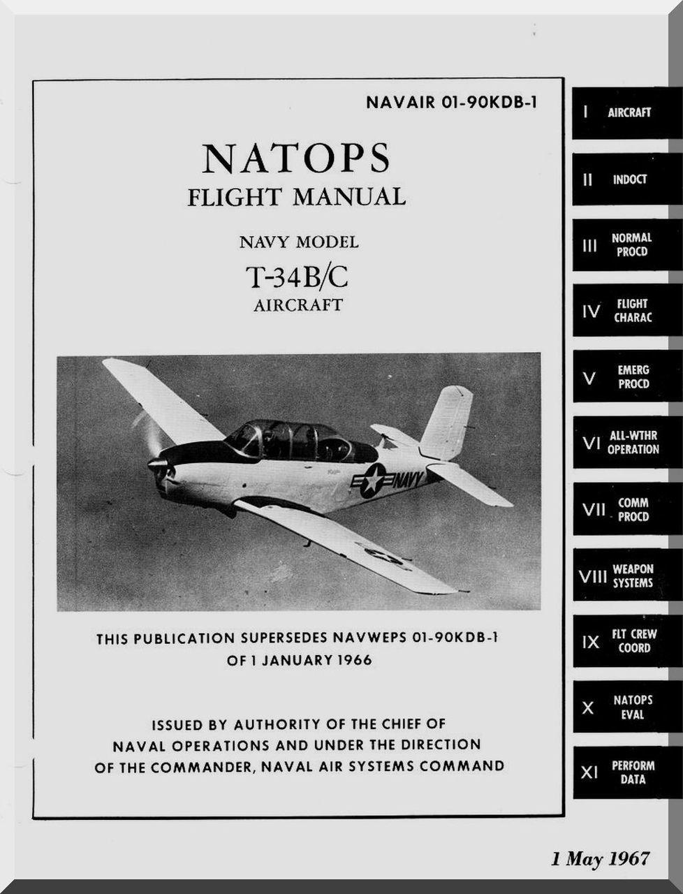 Beechcraft T34 B C Aircraft Flight Manual 1967 in 2020