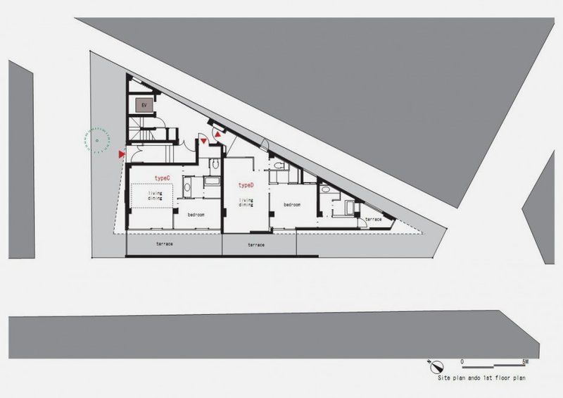 First floor plan of modern and thin triangular building in for Triangular house floor plans