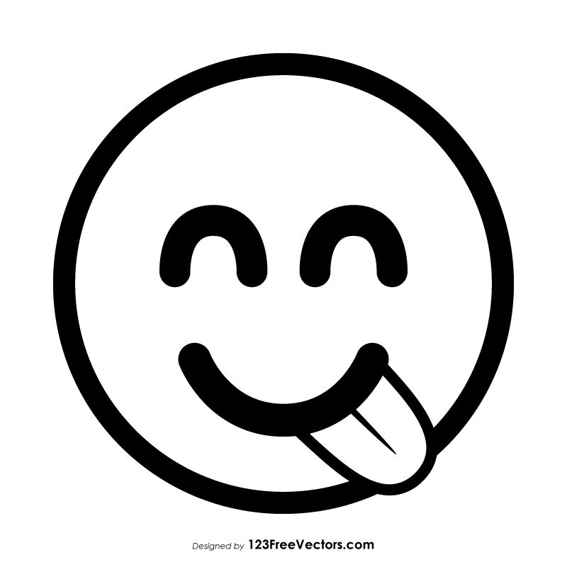 Face Savoring Food Emoji Outline Vector Download Emoji Coloring Pages Black And White Stickers Emoji