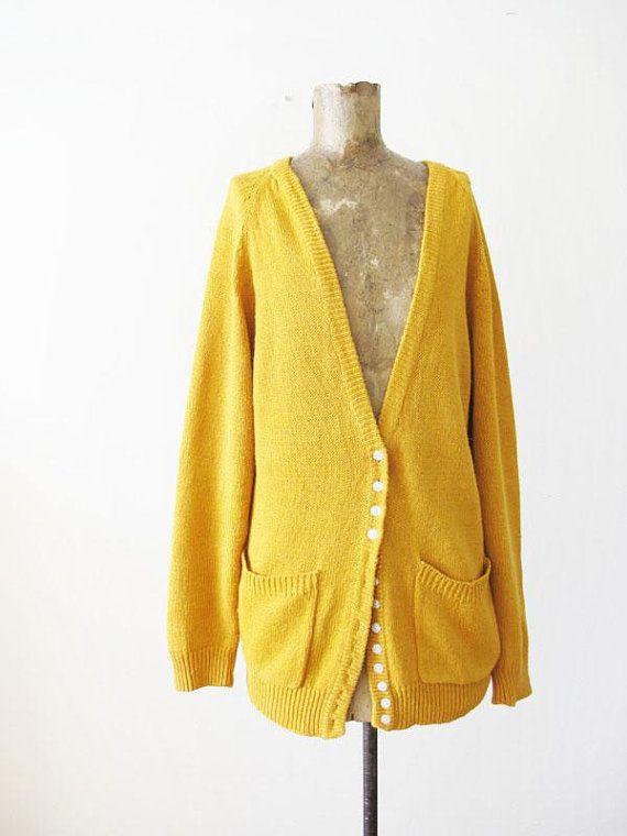 Vintage 80s Cardigan Mustard Yellow Cardigan Sweater Oversized