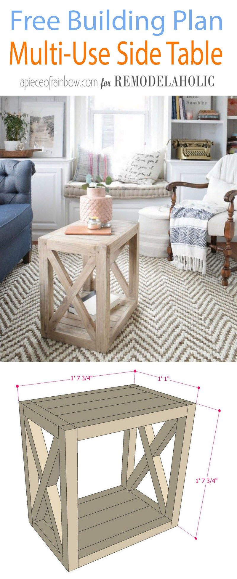 Multi Use Side Table Building Plan Diy Farmhouse Side Table Building Plan Bu Farmhouse Living Room Furniture Farmhouse Furniture Plans Farmhouse End Tables [ 1956 x 800 Pixel ]