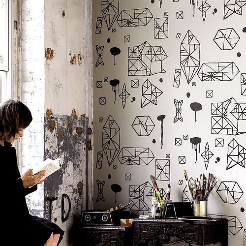 le c t ludique de ce mur d co int rieur pinterest papier peint deco et d co papier peint. Black Bedroom Furniture Sets. Home Design Ideas