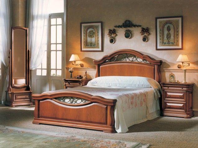 Dormitorio macizo en madera de cerezo con espejo vestidor for Muebles estepa