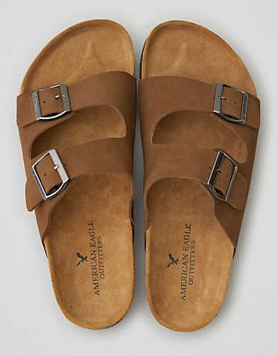 AEO Double Buckle Suede Sandal , Taupe | American Eagle