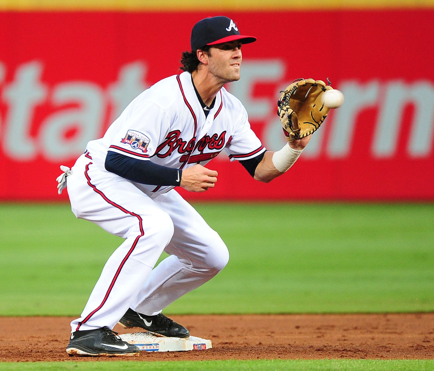 Atlanta Ga August 17 Dansby Swanson 2 Of The Atlanta Braves Takes A Throw At Second Base Against The Minnes Atlanta Braves Minnesota Twins Baseball Braves