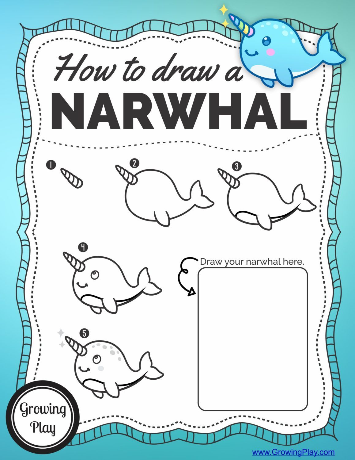 Image of: Cute Isnt This Narwhal Just Adorable Thought It Was Super Cute And Easy Three Horn Unicorn Press How To Draw Narwhal Free Printable Just Looks Like Fun