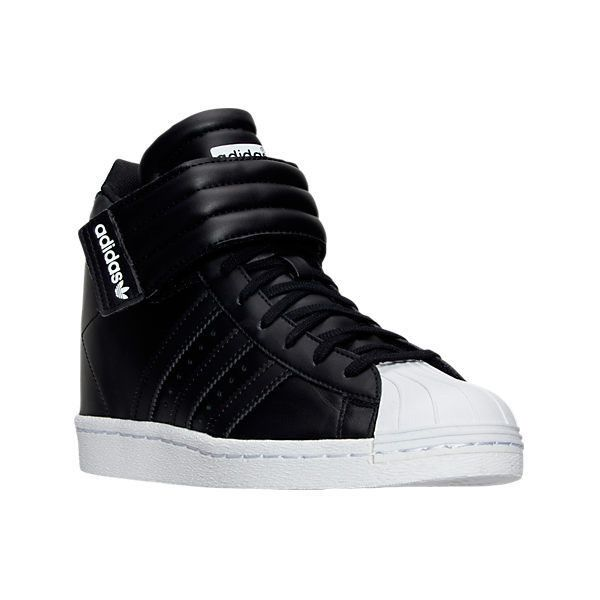 Adidas Women's Superstar Up Casual Shoes ($70) ❤ liked on Polyvore featuring shoes, black, black hi tops, polish shoes, striped shoes, black shoes and adidas shoes