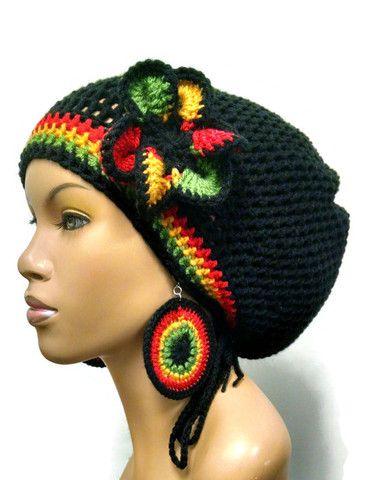 Black slouch hat with rasta stripes/ Red Gold Green crochet earrings ...