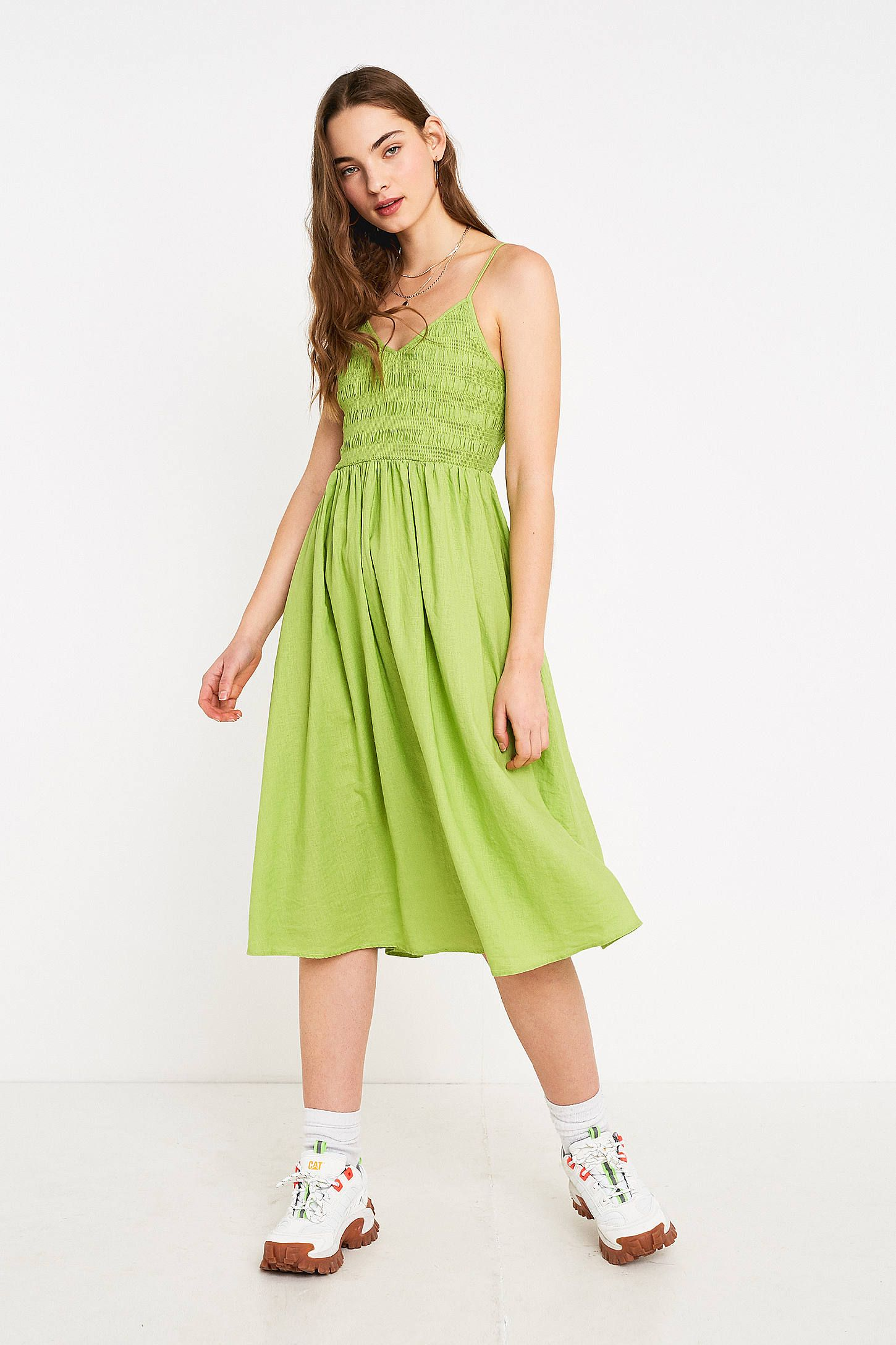 864a4e61c95e UO Ember Lime Smocked Midi Dress in 2019 | Dresses | Dresses ...
