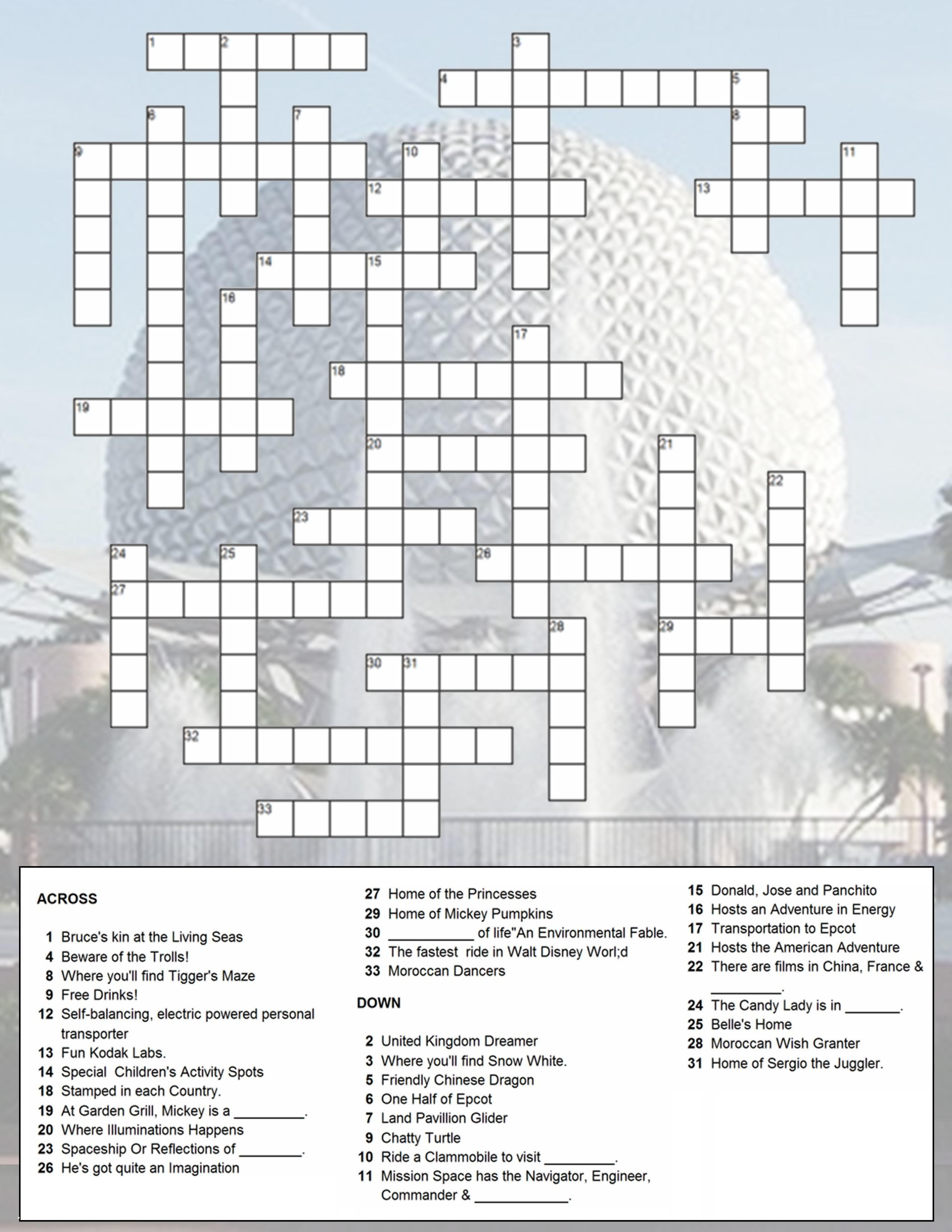 Epcot Crossword Puzzle