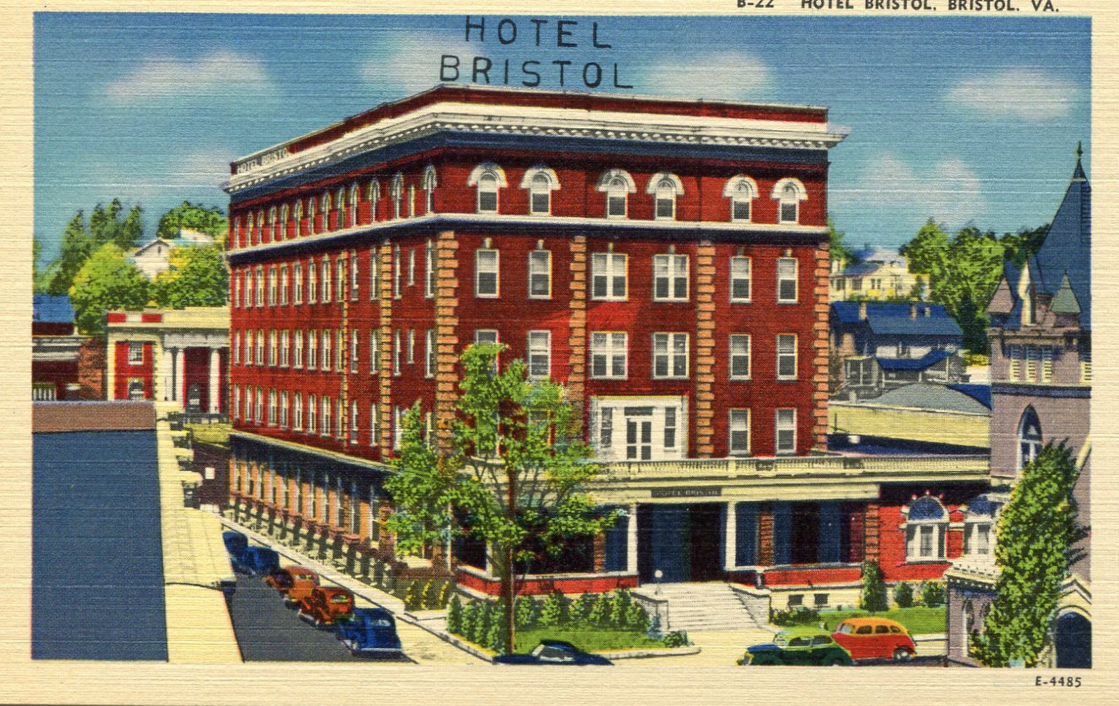 1950s Unused Linen Postcard Hotel Bristol Virginia