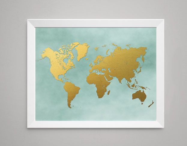 World map print in digital gold foil on teal teal wall decor world map print in digital gold foil on teal teal wall decor world wall gumiabroncs Gallery