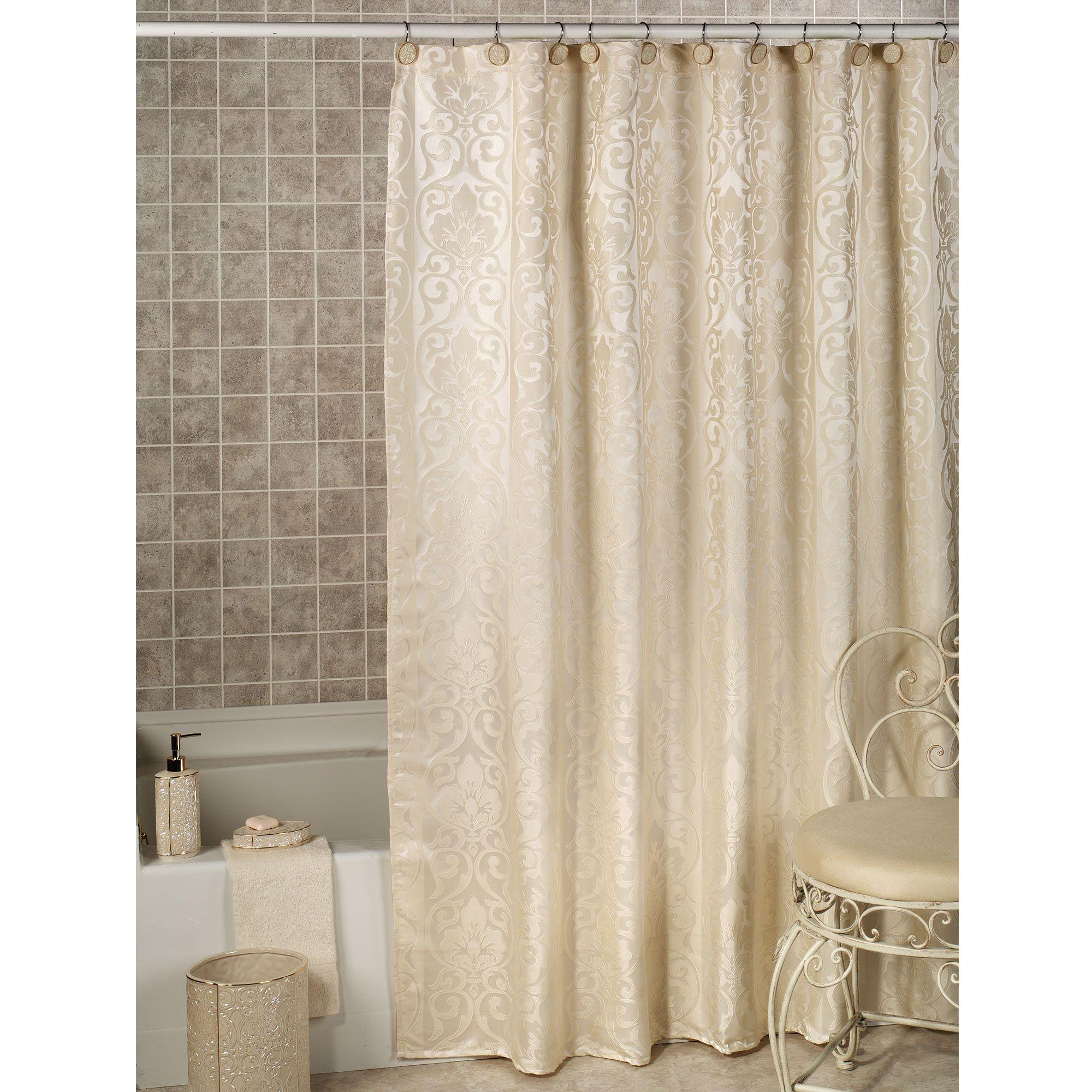 Furla Cream Damask Shower Curtain with Liner | Bathroom ...