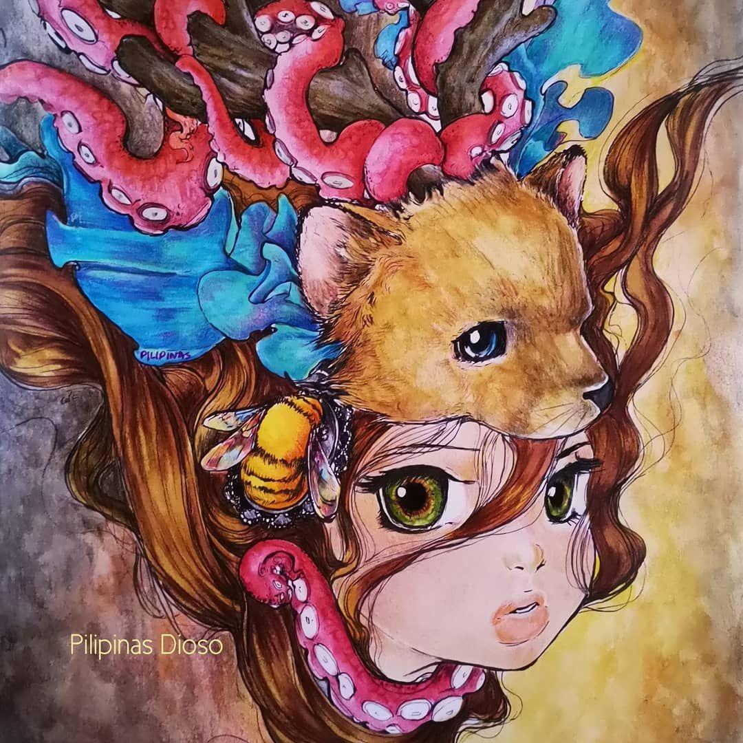 Pilipinas Dioso On Instagram Nymeria Artist Camilla D Errico Pop Manga Colouring Book Done With Derwent Inktense Colour Manga Coloring Book Art Pop Art