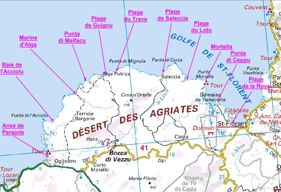 desert des agriates carte De Saint Florent à Perajola (Agriates) | Corse carte, Corse plage