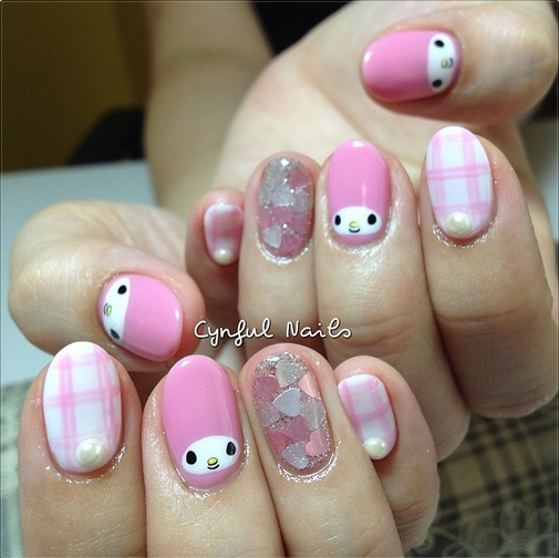 My Melody Nail Art Nail Art Diy Nail Designs Pictures
