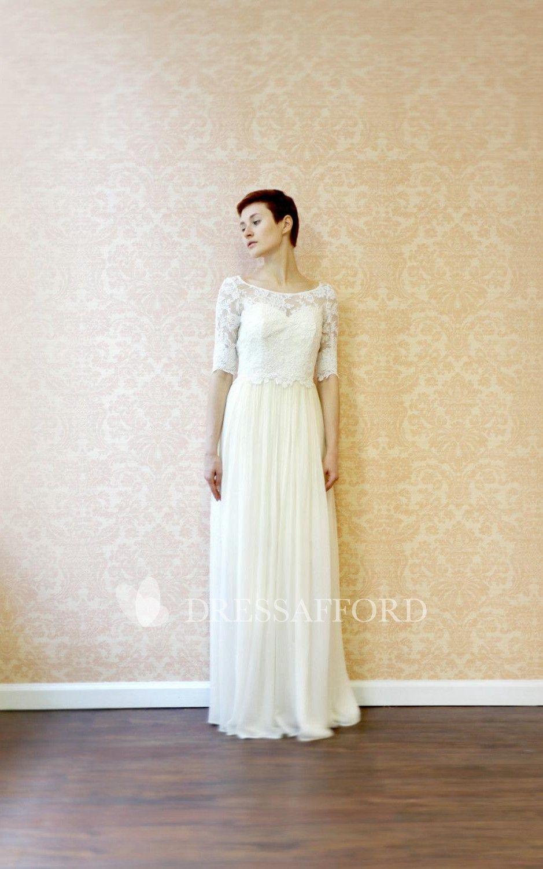 778ad33e17 Chiffon Lace Pleats Button-Back Jewel Gown - Dress Afford