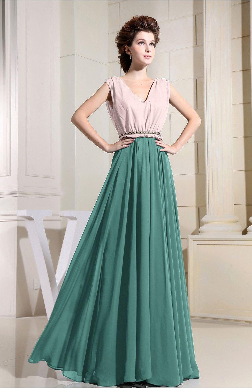 Mint Green Bridesmaid Dress - Antique V-neck Sleeveless Zip up Floor ...