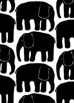 finlayson - elefantti-  puuvillakangas, black&white