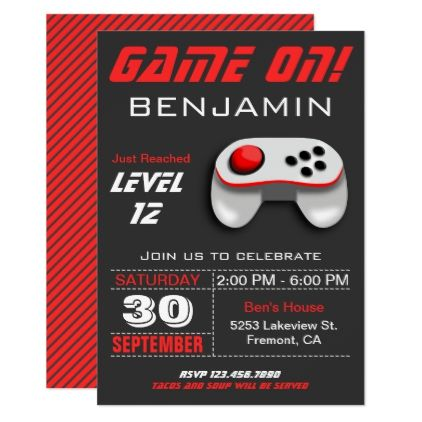 Modern video game red kids birthday party invite invitation ideas modern video game red kids birthday party invite stopboris Image collections