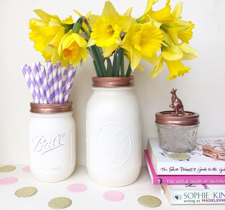 WHITE MASON JARS white jar vase white makeup pot rose