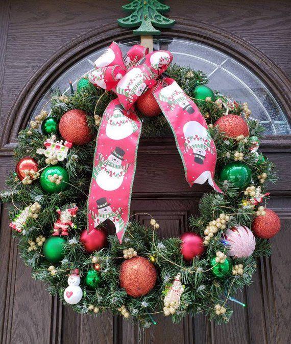 Lighted Wreath Snowman Wreath Christmas Door Wreath Pre-lit Wreath Battery  Operated Wreath Xmas Deco - Lighted Wreath Snowman Wreath Christmas Door Wreath Pre-lit Xmas