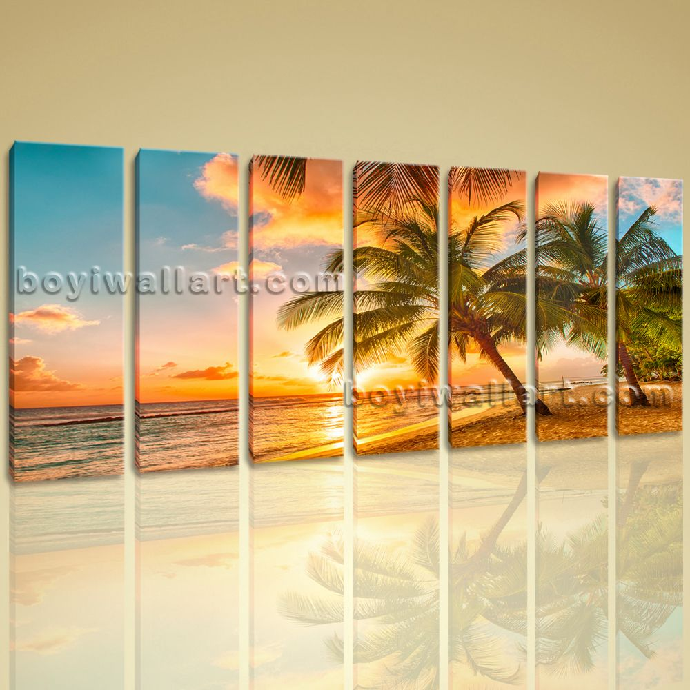 Huge HD Canvas print 7 Pieces Framed Beach Wall Art Palm Tree Sunset ...