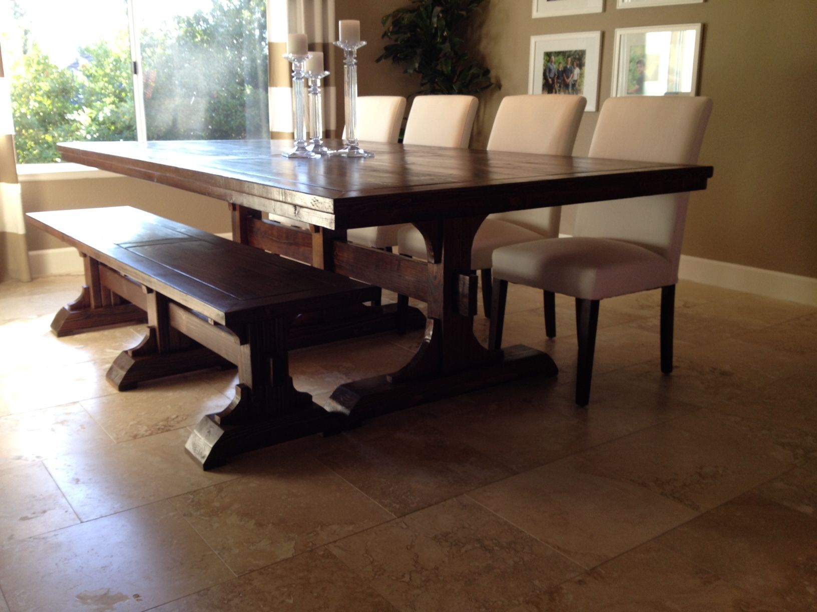 Triple Pedestal Farmhouse Table and Bench Do It Yourself