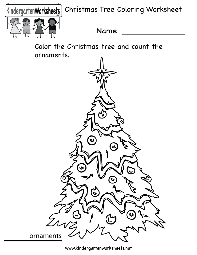 Kindergarten Christmas Tree Coloring Worksheet Printable – Christmas Themed Worksheets for Kindergarten