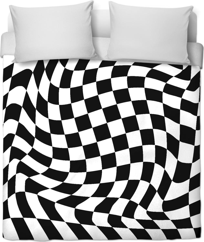 Weaved Chessboard Optical Illusion Black And White Checkered Pattern Duvet Set In 2020 Duvet Sets Patterned Duvet Bed Decor
