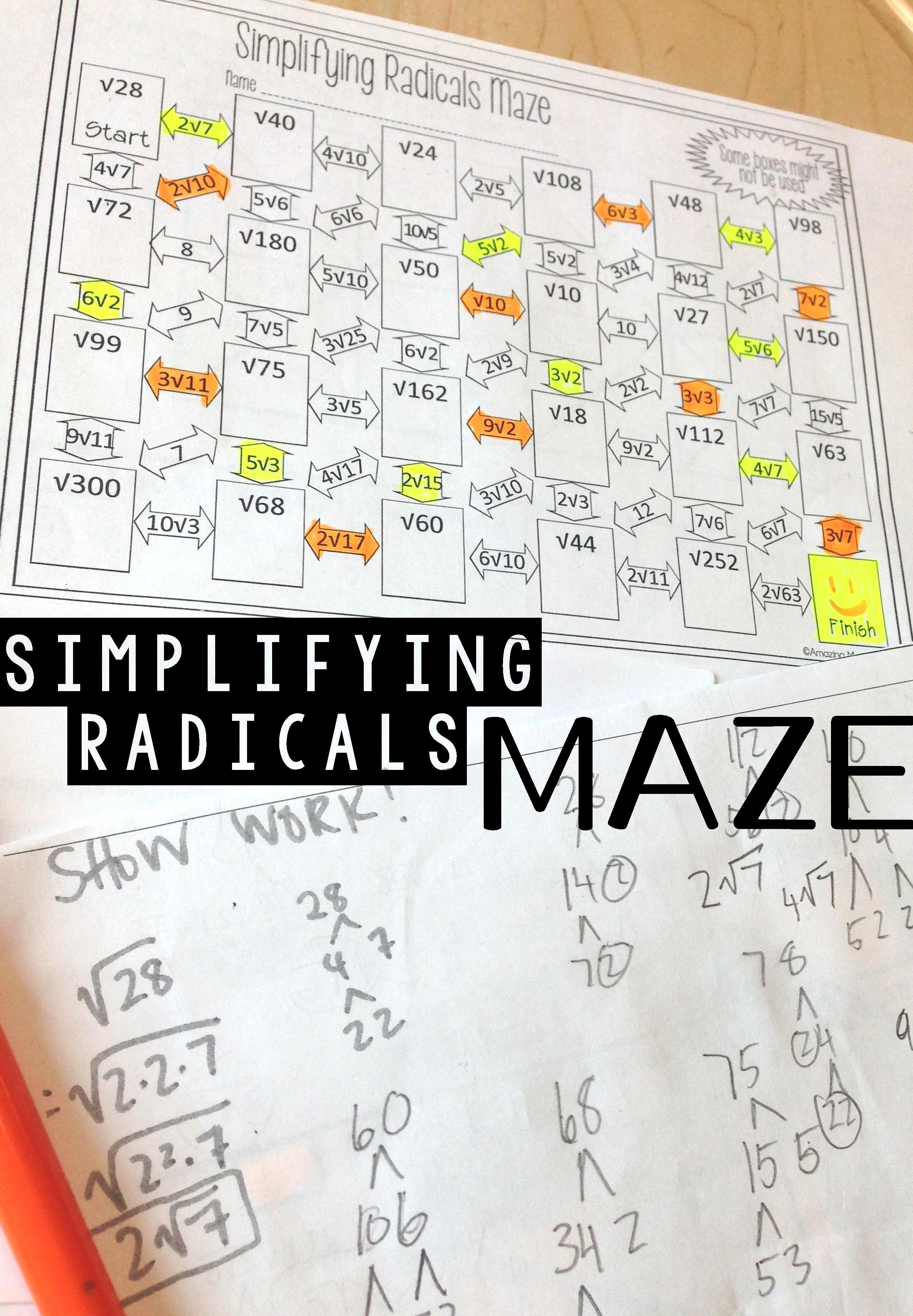 This Algebra Worksheet Was The Perfect Activity To Get My Math Students Some Practice At Simpl Simplifying Radicals Algebra Worksheets Math Practice Worksheets