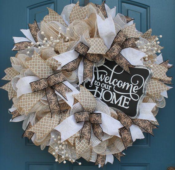 Diy Wedding Wreaths: Everyday Wreath Deco Mesh Wreath Wedding By