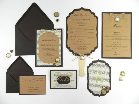 Handmade wedding invitations using book pages
