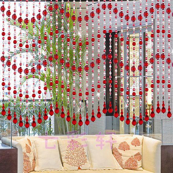 Handmade Acrylic Beaded Door Curtainswooden By Handworkaccessory 245 81 Curtains And Draperies Door Beads Curtain Decor