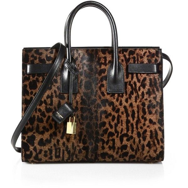 Saint Laurent Small Sac De Jour Calf Hair Tote (72,875 MXN) ❤ liked on Polyvore featuring bags, handbags, tote bags, yves saint laurent, apparel & accessories, leopard, tote purse, leopard print tote bag, brown tote and handbags totes