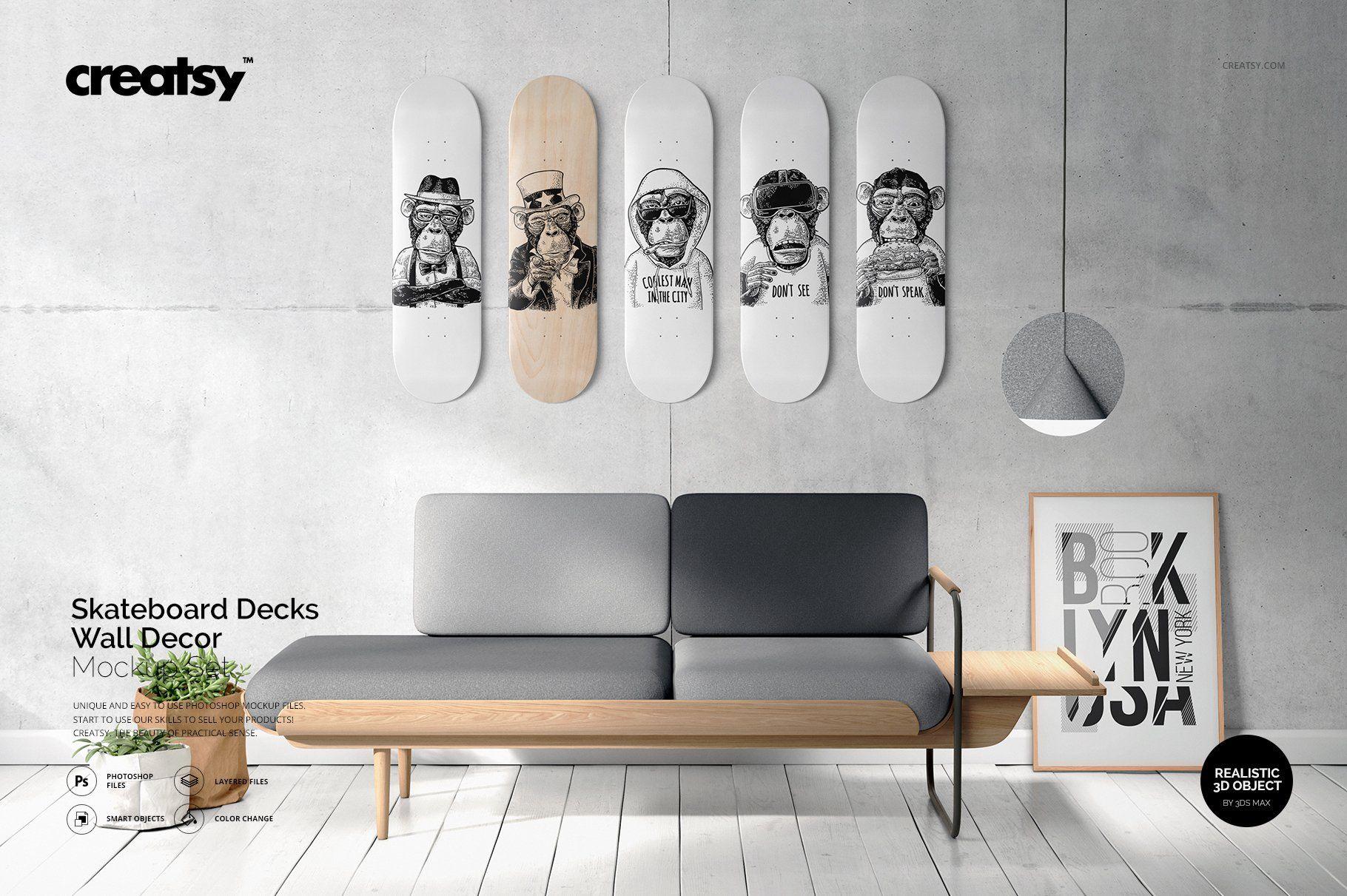 Skateboard Decks Wall Art Mockup Skateboard Wall Art Skateboard Decor Wall Decor