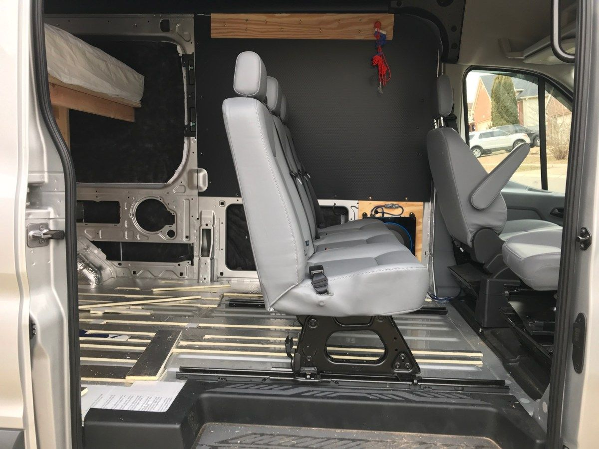 Van Conversion Installing 2nd Row Bench Seat In Ford Transit Ford Transit Ford Transit Conversion Ford Transit Camper