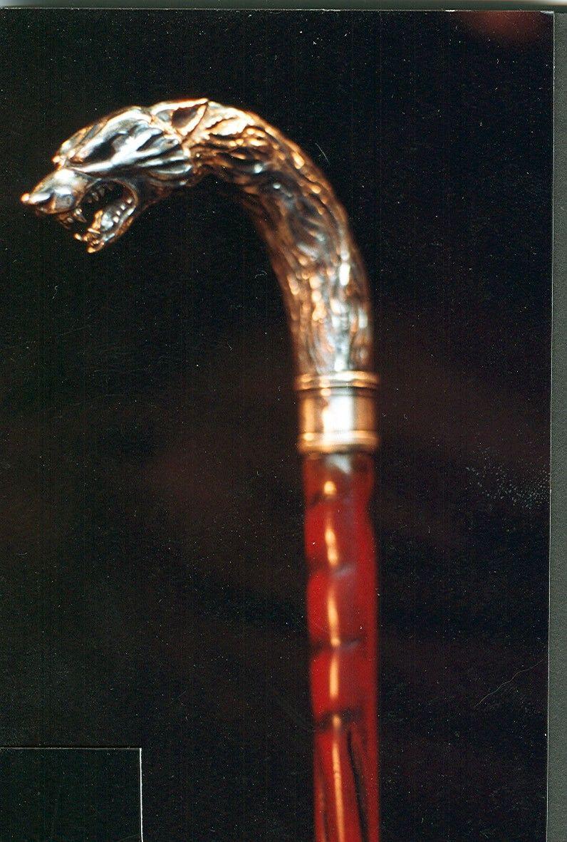 Silver Wolf Head Walking Stick Vinatge Classic Style Wooden Cane Walking Stick