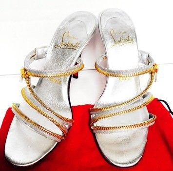 Christian Louboutin Fall Sale Silver & Gold Zipper Stiletto Heels Silver/Gold Pumps $320