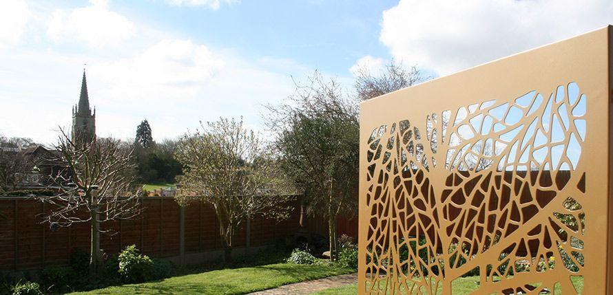 Gold Leaf Garden Screen In Uk Garden