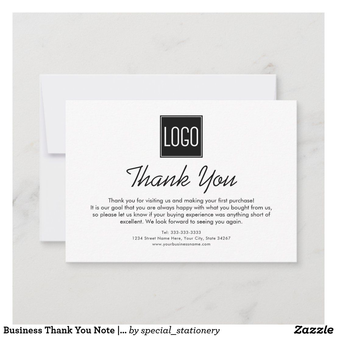 Business Thank You Note Your Logo Zazzle Com In 2021 Business Thank You Notes Thank You Notes Business Thank You