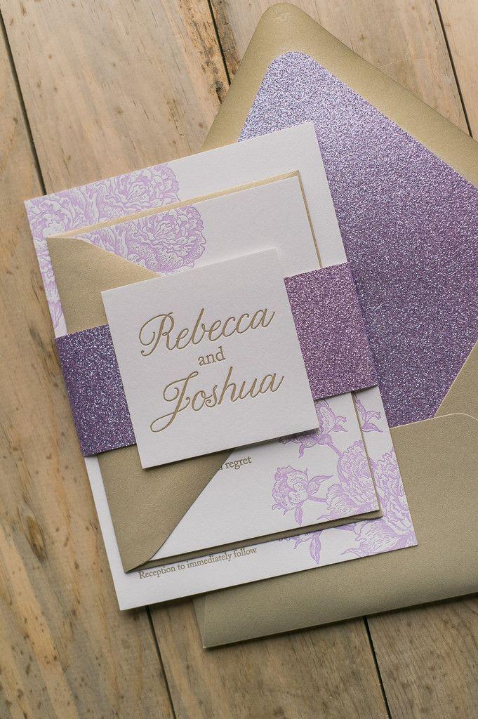 Glitter Wedding Invitations Letterpress Purple Wedding Invitations Lavender Wedding Invitations Purple And Gold Wedding