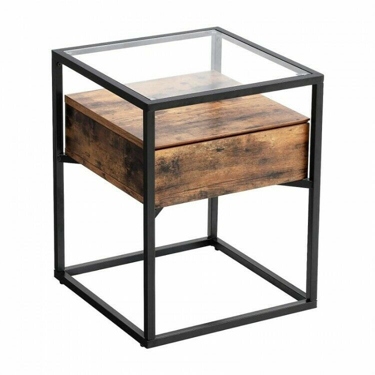 Industrial Side Table With Rustic Wooden Drawer Glass Top Bedside