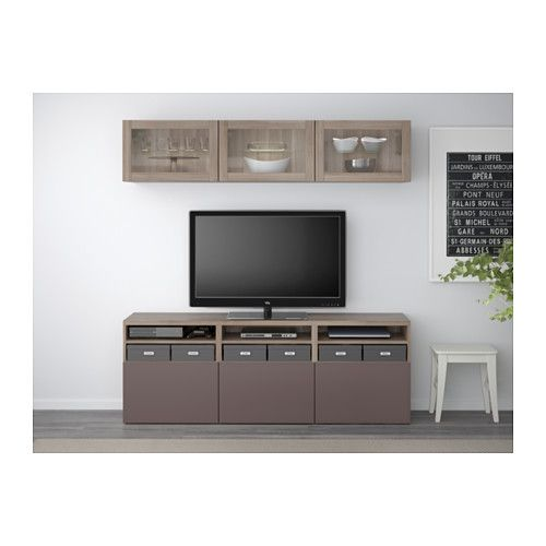 BESTÅ TV storage combination/glass doors - gray stained walnut eff clear glass/Valviken dark brown clear glass, drawer runner, push-open - IKEA