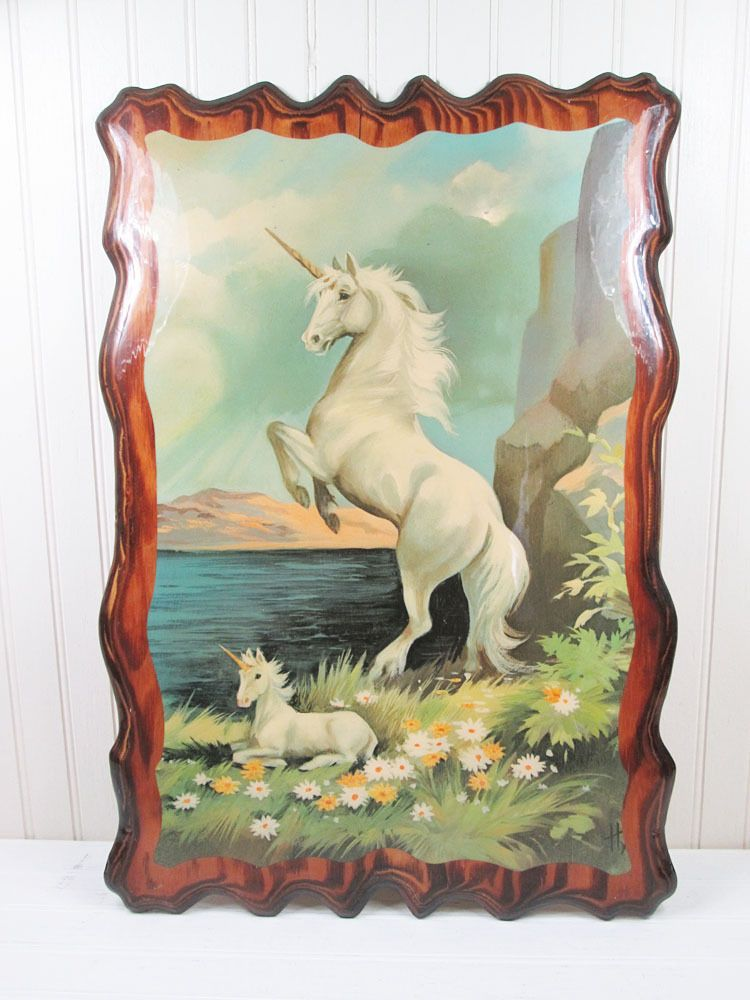 Vintage Unicorn Wood Decoupage Wall Art Plaque Wooden