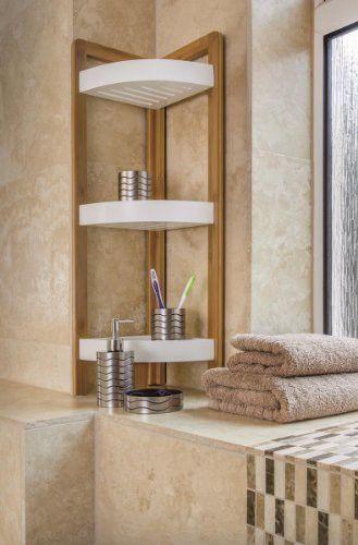 BAMBOO 3 TIER BATHROOM FREE STANDING SHOWER CORNER CADDY TIDY ...