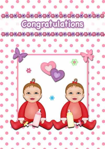 Free printable baby twins cards - my-free-printable-cards Free - free printable congratulations baby cards
